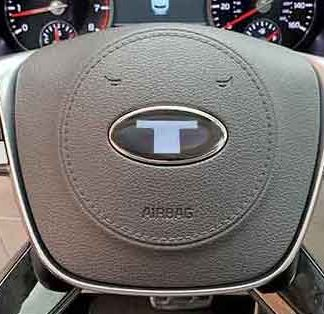 big t steering wheel emblem overlay for kia telluride