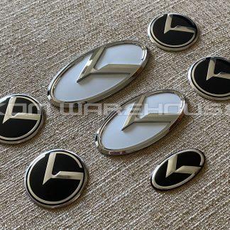 klexus badges emblems kia telluride white with chrome